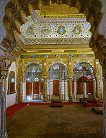 JODHPUR, INDIA - CIRCA NOVEMBER 2018: Interior of the Mehrangarh Fort in Jodhpur. The fort is one of the largest forts in India. Built in around 1459 by Rao Jodha, the fort is situated above the city and is enclosed by imposing thick walls. Jodhpur is the second largest city in the Indian state of Rajasthan. Jodhpur is a popular tourist destination, featuring many palaces, forts and temples, set in the stark landscape of the Thar Desert. It is popularly known as Blue city and Sun city among people of Rajasthan and all over India