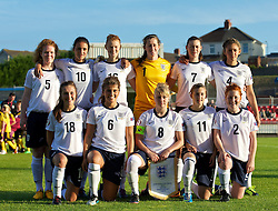 18.08.2013, Stebonheath Park, Swansea, ENG, UEFA Damen U19 EM, England vs Frankreich, Gruppe A, im Bild England's players line up for a team group photograph: Aoife Mannion, Jessica Sigsworth, Meaghan Sergeant, goalkeeper Elizabeth Durack, Natasha Jane Flint, Jade Bailey. Front row L-R: Katie Zelem, Paige Williams, Sherry McCue, Hannah Blundell, Martha Harris during the UEFA women U 19 championchip group A match between England and france at Stebonheath Park in Swansea, Great Britain on 2013/08/18. EXPA Pictures © 2013, PhotoCredit: EXPA/ Propagandaphoto/ David Rawcliffe<br /> <br /> ***** ATTENTION - OUT OF ENG, GBR, UK *****