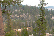 View of Devil's Postpile National Monument,\ through a smoky haze (forest fire), near Mammoth Lakes, California, USA.
