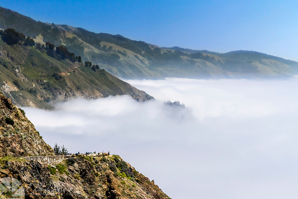 Summer low fog/clouds on the Big Sur Coast, Highway 1, California