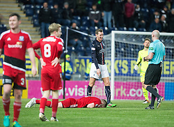 Falkirk's Aaron Muirhead gets booked after pushing Ayr United's Nicky Devlin over. Falkirk 1 v 1 Ayr United, Scottish Championship game played 14/1/2017at The Falkirk Stadium .