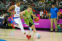 Eulis Baez of Dominican Republic vs Zoran Dragic of Slovenia during basketball match between National Teams of Slovenia and Dominican Republic in Eight-finals of FIBA Basketball World Cup Spain 2014, on September 6, 2014 in Palau Sant Jordi, Barcelona, Spain. Photo by Tom Luksys  / Sportida.com <br /> ONLY FOR Slovenia, France