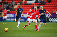 Charlton Athletic midfielder Ben Reeves (12) and Southend United midfielder Sam Mantom (18) during the EFL Sky Bet League 1 match between Charlton Athletic and Southend United at The Valley, London, England on 9 February 2019.