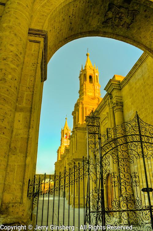 """South America, Paru, Andes, Areqippa, White City, Plaza de Armas. La Catedral in Plaza de Armas in lovely Arequipa, Peru, the """"White City""""."""