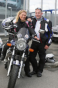 NO FEE PICTURES.5/5/13 On Saturday May 4th, the 8th Annual Rev-up4DSI motorcycle challenge in aid of Down Syndrome Ireland departed Joe Duffy BMW in Dublin, bound for Donegal. Richie and Breda Dunne, Waterford. Picture:Arthur Carron Photography