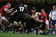 New Zealand's Richie McCaw tackles Alun-Wyn Jones of Wales. Invesco Perpetual series 2008 autumn international match, Wales v New Zealand at the Millennium Stadium on Sat 22nd Nov 2008. pic by Andrew Orchard, Andrew Orchard sports photography,