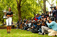 Serena Williams of USA poses before the press in Carlton Gardens with the trophy at the Australian Open 2015 Grand Slam, Tennis match day 14, on January 31, 2015 in Melbourne, Australia. Photo Ella Ling / Backpage Images / DPPI