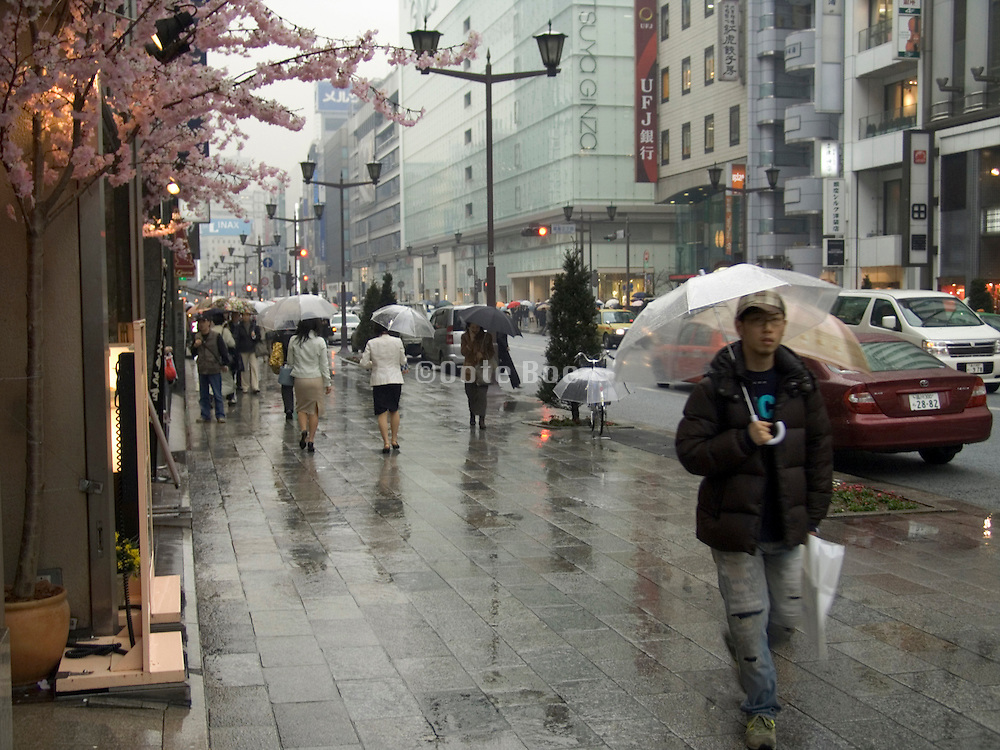 a rainy day Ginza shopping street Tokyo