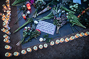 Candles and posters with the images of the Hanau terror attack, during a demonstration, commemorating the anniversary to the Hanau terror attack, in Berlin, Germany, February 19, 2021. About 800 participants took part in the event in remembrance of the Hanau shootings, in which ten people were killed and five others wounded. The shooting spree was committed on February 19, 2020 by a far-right extremist targeting two shisha bars and kiosks at the Hessian city of Hanau near Frankfurt. The gunman was identified as 43-year-old Tobias Rathjen. The majority of the victims were Germans with migrant backgrounds, among the victims was also the perpetrator's mother. (Photo by Omer Messinger)