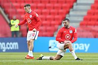 TIRANA, ALBANIA - MARCH 28: Kieran Tripper [left] and Kyle Walker [right] of England waking up before the FIFA World Cup 2022 Qatar qualifying match between Albania and England at the Qemal Stafa Stadium on March 28, 2021 in Tirana, Albania. Sporting stadiums around Europe remain under strict restrictions due to the Coronavirus Pandemic as Government social distancing laws prohibit fans inside venues resulting in games being played behind closed doors (Photo by MB Media)