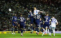 Leeds United's Liam Cooper heads at goal in the closing stages<br /> <br /> Photographer Alex Dodd/CameraSport<br /> <br /> The EFL Sky Bet Championship Play-off Second Leg - Leeds United v Derby County - Wednesday May 15th 2019 - Elland Road - Leeds<br /> <br /> World Copyright © 2019 CameraSport. All rights reserved. 43 Linden Ave. Countesthorpe. Leicester. England. LE8 5PG - Tel: +44 (0) 116 277 4147 - admin@camerasport.com - www.camerasport.com