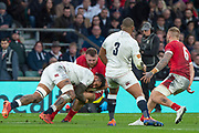 Twickenham, England, 7th March 2020, Courtney LAWES, and Jake BALL, clash, during the,  Guinness Six Nations, International Rugby, England vs Wales, RFU Stadium, United Kingdom, [Mandatory Credit; Peter SPURRIER/Intersport Images]