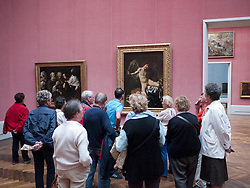 Visitors on guided tour of the Gemaldegalerie  at Kulturforum at Berlin Germany
