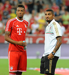 01.08.2013, Allianz Arena, Muenchen, Audi Cup 2013, FC Bayern Muenchen vs Manchester City, im Bild, Die beiden Brueder Jerome BOATENG (FC Bayern Muenchen),links und Kevin Prince BOATENG (AC Mailand) treffen sich nach dem Finalspiel // during the Audi Cup 2013 match between FC Bayern Muenchen and Manchester City at the Allianz Arena, Munich, Germany on 2013/08/01. EXPA Pictures © 2013, PhotoCredit: EXPA/ Eibner/ Wolfgang Stuetzle<br /> <br /> ***** ATTENTION - OUT OF GER *****