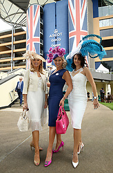Anna Jermain (left), Carla Kyle (centre) and Sarah Davidson during day one of Royal Ascot at Ascot Racecourse.