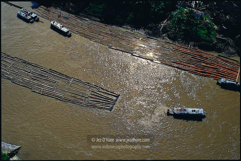 Giant tropical hardwood logs being pulled downstream to be turned into plywood & furniture, Mahakam river, East Kalimantan, Indonesia.