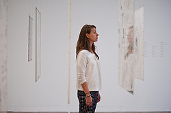 """Mira Schendel at Tate Modern in London. <br /> Tate Modern employee poses next to works entitled """"Graphic Object"""" by Mira Schendel, Tate Modern, London, Tuesday, 24th September 2013. Picture by Piero Cruciatti / i-Images"""