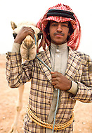 A young man and his camel.  The Bedouin find pleasure and take pride in their camels.