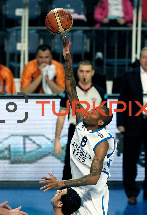 Anadolu Efes's Terence Kinsey during their Turkish Basketball League match Anadolu Efes between Mersin BSB at Sinan Erdem Arena in Istanbul, Turkey, Saturday, January 14, 2012. Photo by TURKPIX