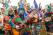 Costumed musicians play during the Faquetigue Courir de Mardi Gras chicken run on Fat Tuesday February 17, 2015 in Eunice, Louisiana. The traditional Cajun Mardi Gras involves costumed revelers competing to catch a live chicken as they move from house to house throughout the rural community.