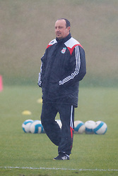 LIVERPOOL, ENGLAND - Friday, March 28, 2008: Liverpool's manager Rafael Benitez training at Melwood ahead of the Merseyside Derby match against Everton. (Photo by David Rawcliffe/Propaganda)