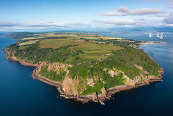 Aerial view from drone of Sutors of Cromarty headland at entrance to Cromarty firth in Ross and Cromarty, Scotland Uk