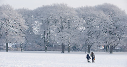 © under license to London News Pictures.  19/12/2010 Residents walk through pershore park today (19/12/2010) in the freshly fallen snow. Temperatures dropped to minus 19 last night, making it one of the coldest places in England. Picture credit should read: David Hedges/LNP