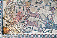 Deer being hunted. Roman mosaic floor of the Room of The Small Hunt, no 25 - Roman mosaics at the Villa Romana del Casale ,  circa the first quarter of the 4th century AD. Sicily, Italy. A UNESCO World Heritage Site. .<br /> <br /> If you prefer to buy from our ALAMY PHOTO LIBRARY  Collection visit : https://www.alamy.com/portfolio/paul-williams-funkystock/villaromanadelcasale.html<br /> Visit our ROMAN MOSAICS  PHOTO COLLECTIONS for more photos to buy as buy as wall art prints https://funkystock.photoshelter.com/gallery/Roman-Mosaics-Roman-Mosaic-Pictures-Photos-and-Images-Fotos/G00008dLtP71H_yc/C0000q_tZnliJD08