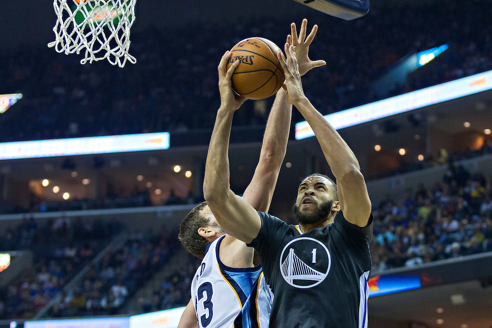 MEMPHIS, TN - DECEMBER 10:  JaVale McGee #1 of the Golden State Warriors goes to the basket against  Marc Gasol #33 of the Memphis Grizzlies at the FedExForum on December 10, 2016 in Memphis, Tennessee.  The Grizzlies defeated the Warriors 110-89.  NOTE TO USER: User expressly acknowledges and agrees that, by downloading and or using this photograph, User is consenting to the terms and conditions of the Getty Images License Agreement.  (Photo by Wesley Hitt/Getty Images) *** Local Caption *** JaVale McGee; Marc Gasol