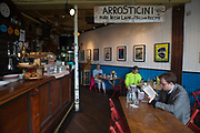 People eating lunch at The Bernard Shaw venue on 05th April 2017 in Dublin, Republic of Ireland. Dublin is the largest city and capital of the Republic of Ireland.
