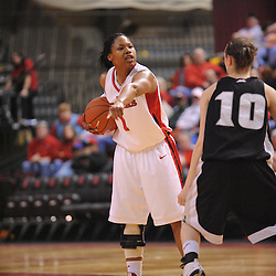 Feb 21, 2009; Piscataway, NJ, USA; Rutgers guard Khadijah Rushdan (1) directs her teammates on offense during the second half of Rutgers' 55-42 victory over Providence at the Louis Brown Athletic Center.