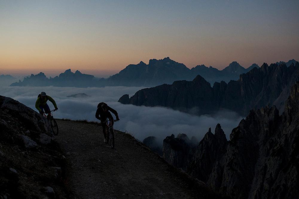 Rob Dean and Josh Ibbett, dawn start, Dolomites, Italy.