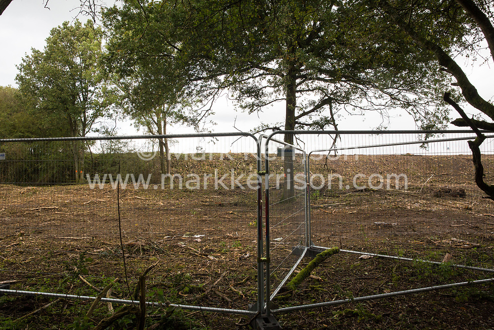 Calvert, UK. 6th October, 2020. An area of Calvert Jubilee nature reserve cleared of trees and vegetation by contractors working on behalf of HS2 Ltd. HS2 Ltd seized possession of the eastern side of the nature reserve, which is maintained by the Berks, Bucks and Oxon Wildlife Trust (BBOWT) and is home to bittern, breeding tern and some of the UK's rarest butterflies, on 22nd September in order to carry out clearance works in connection with the HS2 high-speed rail link.