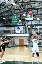 12 December 2015:  Gabrielle Holness during an NCAA women's basketball game between the Wisconsin Stevens Point Pointers and the Illinois Wesleyan Titans in Shirk Center, Bloomington IL