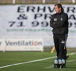 Cheftræner Morten Eskesen (FC Helsingør) under kampen i 1. Division mellem FC Helsingør og Kolding IF den 24. oktober 2020 på Helsingør Stadion (Foto: Claus Birch).