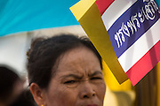 13 MAY 2013 - BANGKOK, THAILAND:  A woman shades herself with the Thai flag at the Royal Ploughing Ceremony. The Royal Plowing Ceremony is held Thailand to mark the traditional beginning of the rice-growing season. The date is usually in May, but is determined by court astrologers and varies year to year. During the ceremony, two sacred oxen are hitched to a wooden plough and plough a small field on Sanam Luang (across from the Grand Palace), while rice seed is sown by court Brahmins. After the ploughing, the oxen are offered plates of food, including rice, corn, green beans, sesame, fresh-cut grass, water and rice whisky. Depending on what the oxen eat, court astrologers and Brahmins make a prediction on whether the coming growing season will be bountiful or not. The ceremony is rooted in Brahman belief, and is held to ensure a good harvest. A similar ceremony is held in Cambodia.   PHOTO BY JACK KURTZ