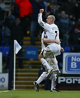 Photo: Aidan Ellis.<br /> Bolton Wanderers v Arsenal. The Barclays Premiership.<br /> 03/12/2005.<br /> Bolton's Stelios celebrates his goal and teams second