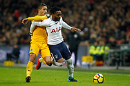Danny Rose of Tottenham Hotspur (R) tussles with Anthony Knockaert of Brighton & Hove Albion (L). Premier league match, Tottenham Hotspur v Brighton & Hove Albion at Wembley Stadium in London on Wednesday 13th December 2017.<br /> pic by Steffan Bowen, Andrew Orchard sports photography.