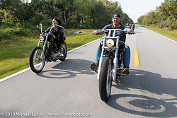 Andy Huotari riding his custom Harley-Davidson Softail on a ride to Cape Canaveral during Daytona Beach Bike Week, FL. USA. Monday, March 11, 2019. Photography ©2019 Michael Lichter.