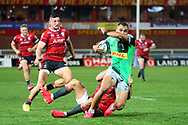 Gloucester's Louis Rees-Zammit Harlequins Joe Marchant  during the Gallagher Premiership Rugby match between Gloucester Rugby and Harlequins at the Kingsholm Stadium, Gloucester, United Kingdom on 14 September 2020.