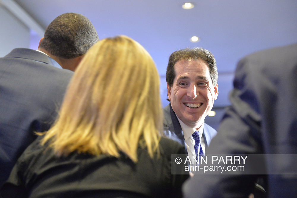 Garden City, New York, USA. November 6, 2018. Nassau County Democrats watch Election Day results at Garden City Hotel, Long Island. On stage were candidates who won election to the New York State Senate, including Senator TODD KAMINSKY re-elected to represent NYS SENATE SD9.  Plus other elected officials joined them, including Hempstead Town Supervisor LAURA GILLEN.
