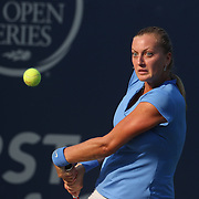 Petra Kvitova, Czech Republic, in action against Alison Riske, USA, during the New Haven Tennis Open at Yale,, Connecticut, USA. 20th August 2013. Photo Tim Clayton