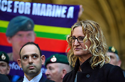 © Licensed to London News Pictures. 21/12/2016. London, UK. An emotional looking CLAIRE BLACKMAN speaks to the media as she leaves the Royal Courts of Justice in London following a bail hearing for her husband, Royal Marine Sergeant Alexander Blackman. Sgt Blackman is currently serving a life sentence after being convicted of murdering a wounded Taliban fighter in Afghanistan in 2011. Photo credit: Ben Cawthra/LNP