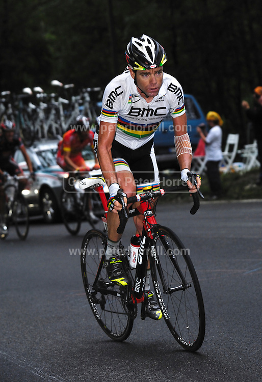 France, July 22 2010: BMC's Cadel Evans on the Col du Tourmalet during Stage 17 of the 2010 Tour de France. Copyright 2010 Peter Horrell