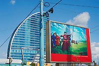 Mongolie, Oulan Bator, Place Sukhbaatar, paneau avec une peinture representant la fete du Naadam // Mongolia, Ulan Bator, Sukhbaatar square, painting of Naadam festival