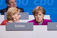 26 FEB 2018, BERLIN/GERMANY:<br /> Julia Kloeckner (L), CDU Landesvorsitzende Rheinland-Pfalz, und Angela Merkel (R), CDU, Bundeskanzlerin, im Gespraech, CDU Bundesparteitag, Station Berlin<br /> IMAGE: 20180226-01-128<br /> KEYWORDS: Party Congress, Parteitag, Julia Klöckner, Gespräch