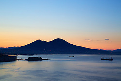 Sunrise over Mt Vesuvius, Naples Bay, Naples Italy