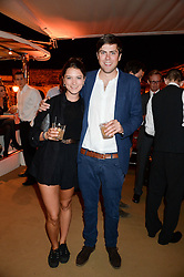 Johnnie Walker Gold Label Reserve Finale Celebration Party aboard the John Walker & Sons Voyager moored at the Prince of Wales Docks, Leith, Edinburgh, Scotland on 14th August 2013.<br /> Picture shows:-Lord Tommy Fitzalan-Howard and Kate Parry-Crooke.