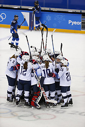 February 11, 2018 - Pyeongchang, KOREA - United States celebrate their win over against Finland at the women's hockey group A play during the Pyeongchang 2018 Olympic Winter Games at Kwandong Hockey Centre. The USA beat Finland 3-1. (Credit Image: © David McIntyre via ZUMA Wire)