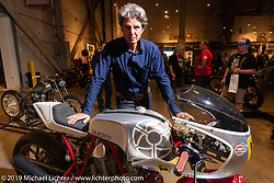 Walt Seigl with his Bedeveled Ducati bevel-engine racer commissioned by the Haas Moto Museum and built in his New Hampshire shop. Handbuilt Show. Austin, Texas USA. Friday, April 12, 2019. Photography ©2019 Michael Lichter.
